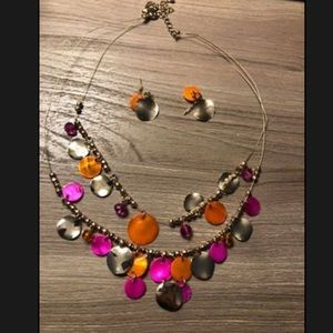 Gold and pink necklace with matching earrings